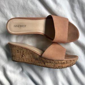 Nine West   Confetti Suede Blush Wedge Sandal